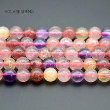 Natural Super Seven Strawberry crystal Rutilated Stone Round Loose Beads For Jewelry Making 4-10mm Spacer Fit Diy Bracelet