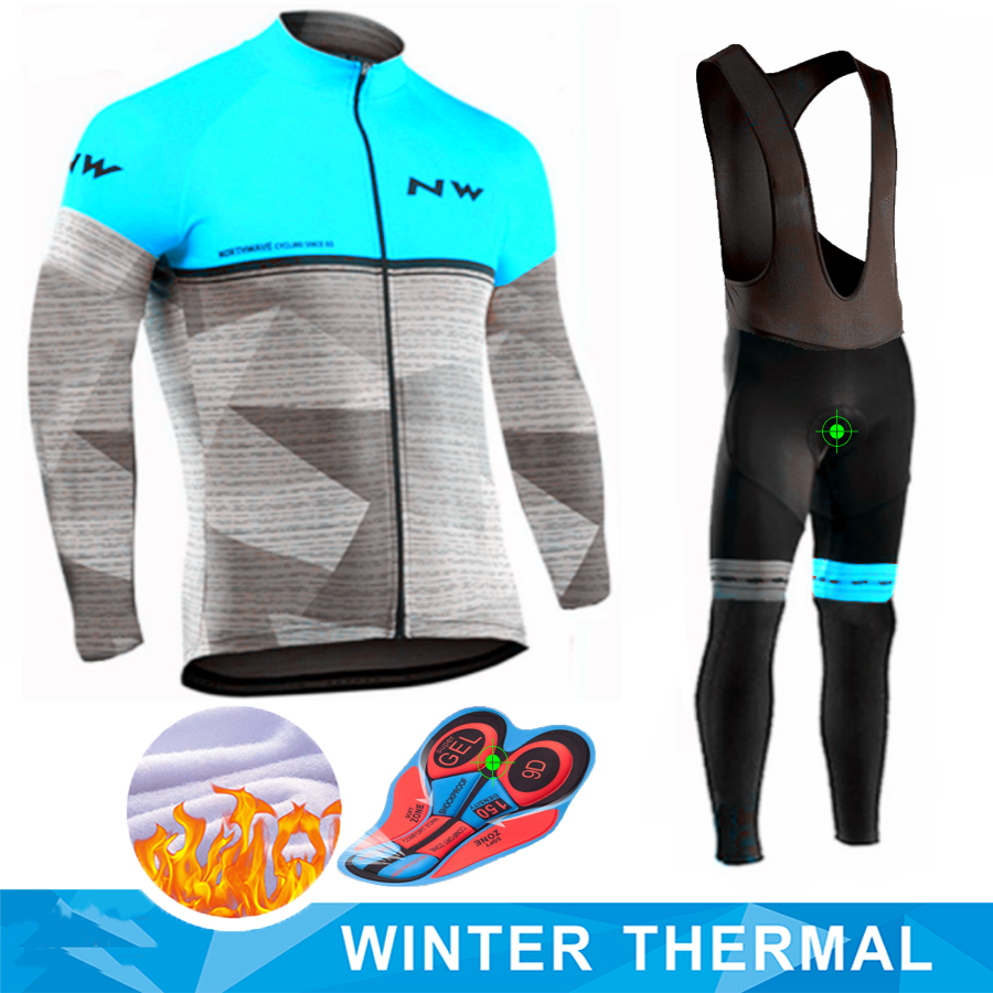 Pro NW Men Long Sleeve Cycling Clothing Ropa Ciclismo Invierno Hombre Winter Thermal Fleece Cycling Jersey Bib Pants Set