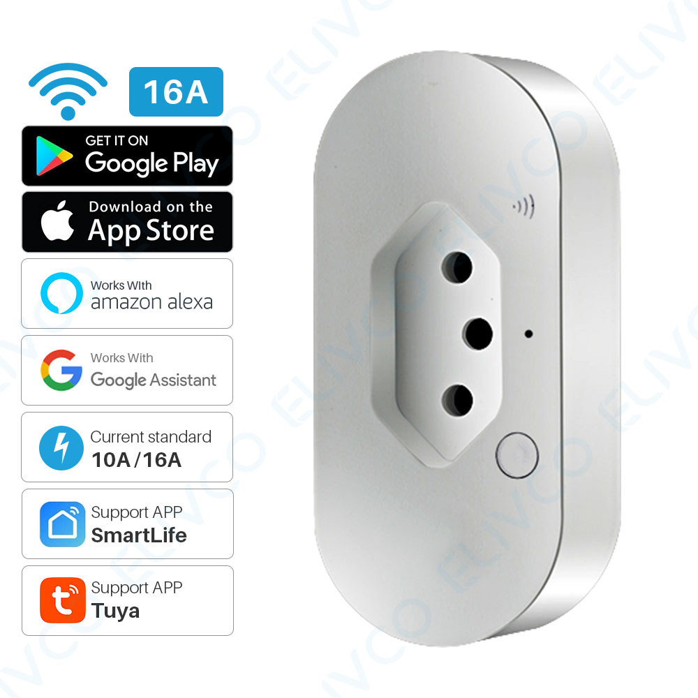 Smart Power Plug WiFi Brazil Intelligent Outlet With Energy Monitor Timing Tuya APP Remote Control Works With Alexa Google Home(China)