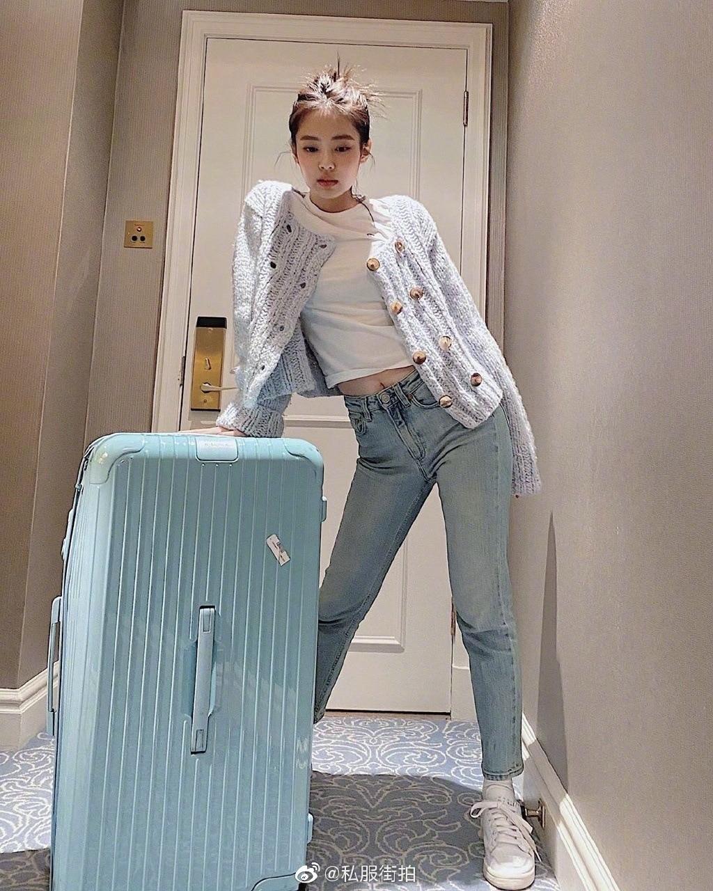 US $12.98 20% OFF|kpop Korean Celebrity Light blue long sleeved knitted cardigan sweater coat and white short t shirt tops+slim jeans women