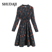 Spring And Autumn woman Dresses Sennus New Corduroy Mid-long Collar Long Sleeve Winter Bottom  flowers Dress
