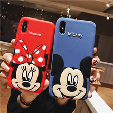 Cute 3D Cartoon Minnie Mickey Mouse Soft Silicone Phone Case for iPhone 7 8 Plus 6 6s X XS MAX XR TPU Cover Coque Fundas