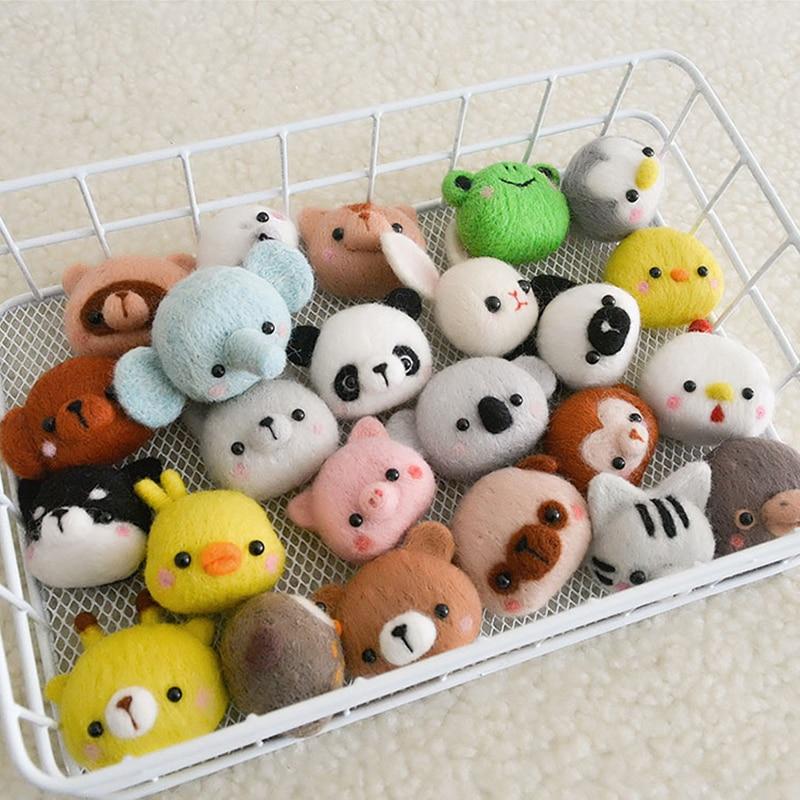 Cute Little Animal Handmade Animal Toy Doll Felt Poking Kit DIY Wool Kit Non-Finished Pig Cat Dog Chicken Frog Novice Kit