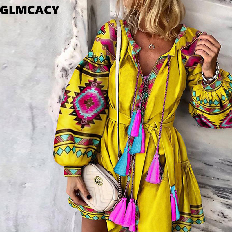Women V Neck Sashes Geometric Color Block Print Lantern Sleeve Sweet Casual Vintage Holiday Summer Top Selling Dresses