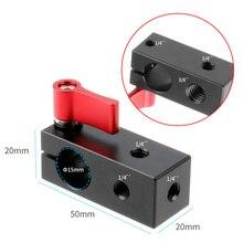 BGNING 15MM 1/4 pojedynczy pręt otwór montaż zacisku drutu wyświetlacz mikrofon klip Adapter lustrzanka klatka dla królika klip akcesoria do kamery
