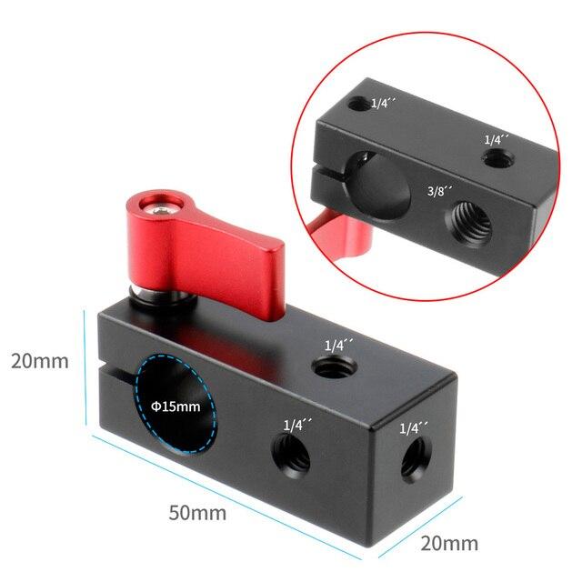 Bgning 15mm 1/4 única haste buraco montagem braçadeira fio display microfone clipe adaptador câmera slr coelho gaiola clipe câmera acessório