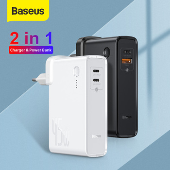Baseus 45W GaN Charger QC Fast USB Charger For iPhone Xiaomi 10000mah Power Bank PD3.0 QC3.0 SCP Quick Charger For Notebook