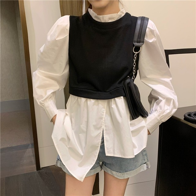 Spring Patchwork Fake Two Piece Shirts Women Autumn Irregular Puff Sleeve Causal Tops Vintage Sexy Stand Collar Blouse Femme 1