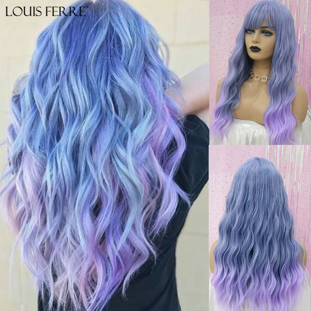 LOUIS FERRE Long Wavy Wigs Synthetic Wigs Ombre Blue Purple Wig With Bangs High Temperature Fiber For Black Women Heat Resistant