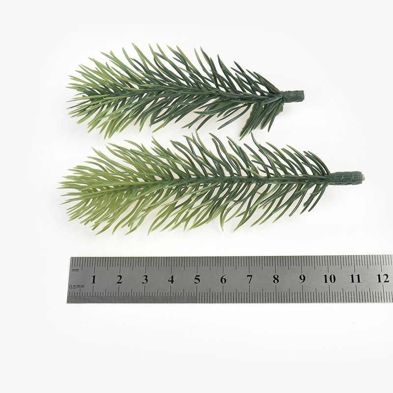 10 Uds aguja de pino artificial Planta artificial flor rama para decoración de árbol de Navidad accesorios DIY ramo en caja de regalo
