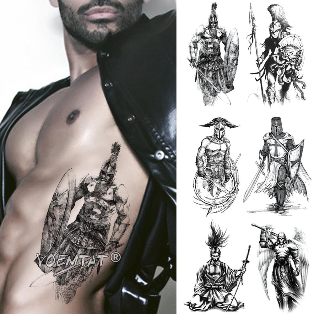 Spartan Hero Temporary Tattoo Sticker Gladiator Warrior Waterproof Tatto Crusader Knights Body Art Arm Fake Tatoo Men Women