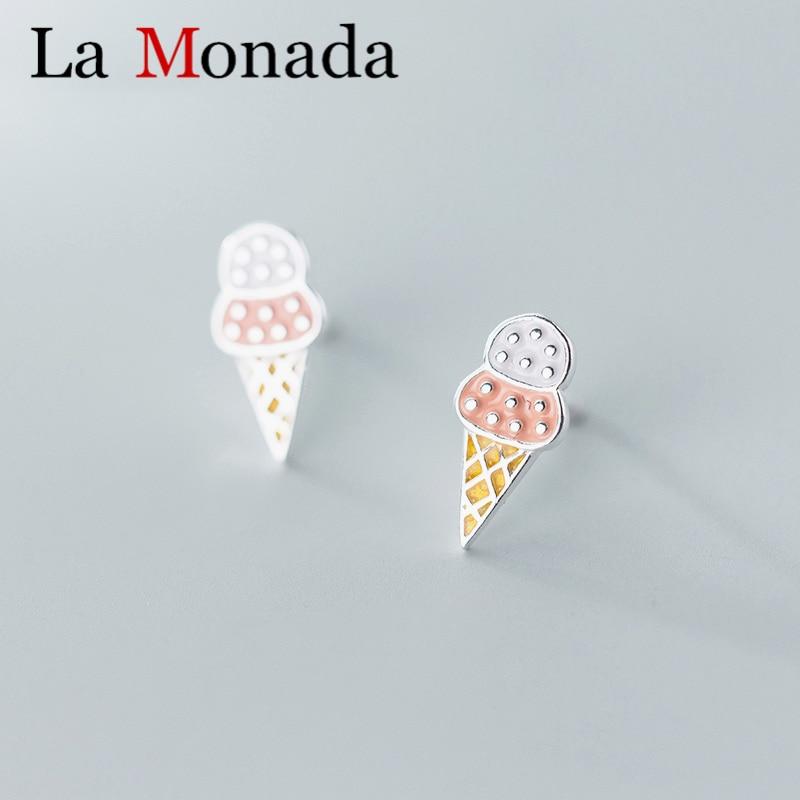 925 Sterling Silver Ice Cream Stud Earrings Mini Studs Cone Girls Women Children