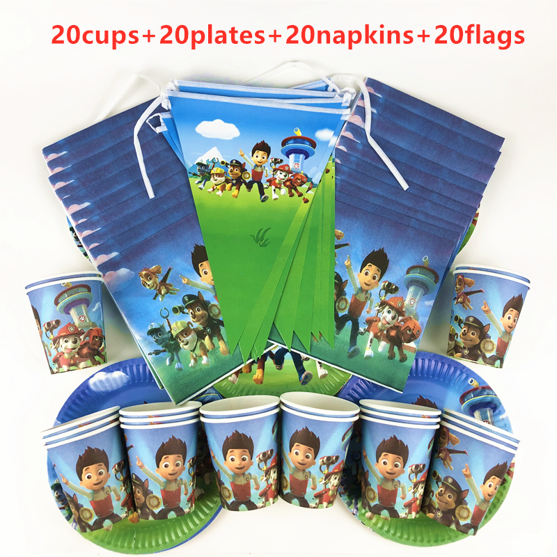 80Pcs/Lot Paw Patrol Theme Cartoon Kids Girl Birthday Party Paper Plates Cups Napkins Flag Baby Shower Decoration Supplies