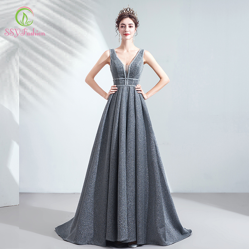 SSYFashion New Banquet Elegant Grey Evening Dress Sexy V-neck Sleeveless Floor-length Long Formal Prom Gown Vestidos De Fiesta