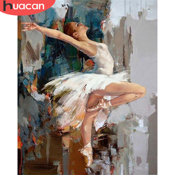 HUACAN DIY Pictures By Number Kits Girl Painting By Numbers Ballet Drawing On Canvas Portrait Hand Painted Paintings Home Decor