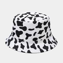 Moda bonito reversível preto branco vaca balde chapéus das mulheres dos homens bob verão menina vaca impressão chapéu de pesca viagem panamá senhora boné presente