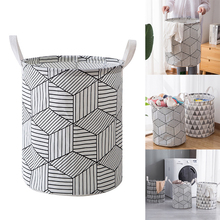 Large Laundry Hampers Drawstring Waterproof Round Cotton Linen Collapsible Storage Basket