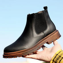 New Mens Chelsea Boots Ankle Super Warm Winter Men British Style Soft Leather Snow Black Brown