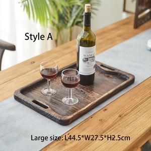 Image 3 - Powieść Paulownia drewniana taca taca herbaciana taca śniadaniowa prostokątna drewniana chińska gniazdująca zestaw tac