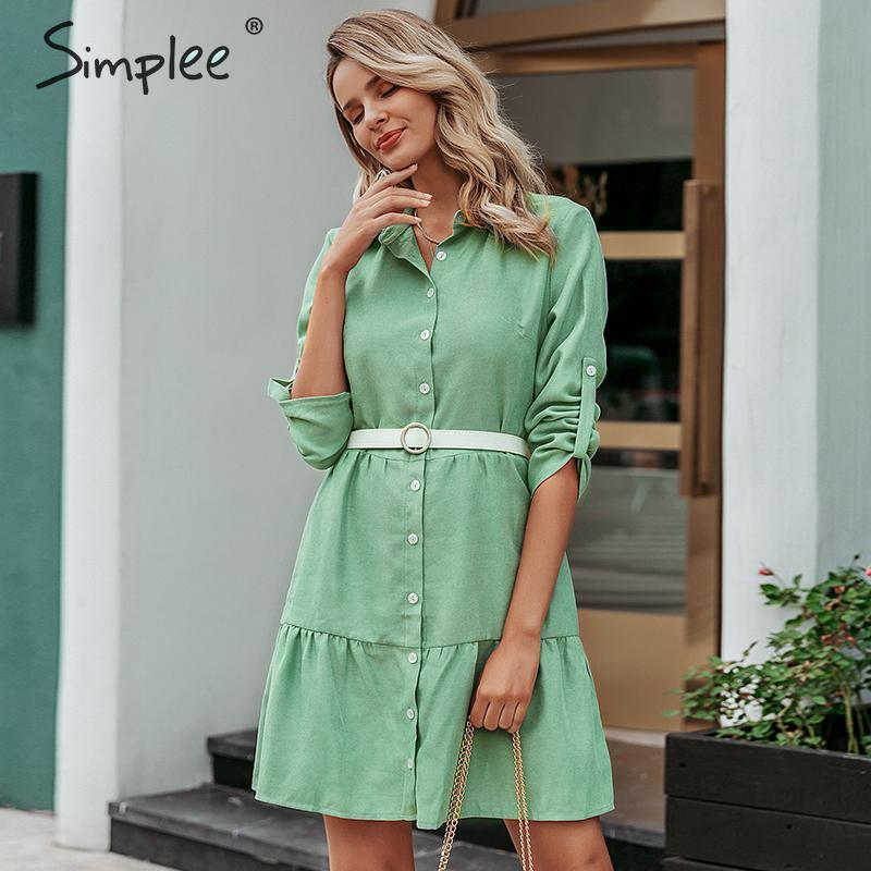 Simplee Autumn women shirt dress A line lapel solid female casual blouse dress Winter long sleeve office ladies chic short dressDresses   -