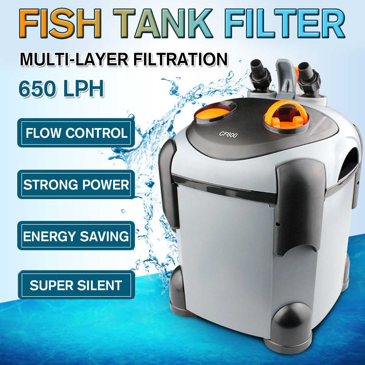 9.3W 650LPH Aquarium External Fish Tank Canister Filter For Aqua Fish Tank Filtration With Intake Output Hose Pet Supplies