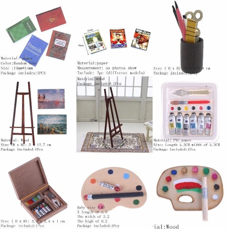 Dollhouse Mini Portrait Drawing Frame Drawing Board Mini Painting Box Pigment Sticks Simulation Doll House Accessories