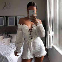 Shorts Bodysuit Romper Ruffles Justchicc White Off-Shoulder Summer Women Lace Sexy V-Neck