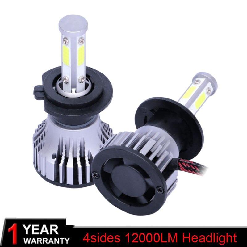 Muxall 12000LM 4 Sides H7 Led Canbus H4 H8 H13 H11 9005 HB3 9006 3000K 6000K 8000K 100W Headlight Lamp Car Light 12V Automobiles