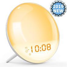 Obudź światło Sunrise Alarm symulacyjny zegar pomoc w leczeniu zaburzeń snu kolorowa lampka nocna z radiem FM podwójny Alarm regulowana lekkość