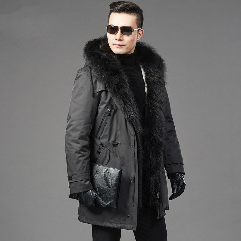Real Fur Coat Natural Rabbit Fur Liner Raccoon Fur Collar Parka Jacket Plus Size Jackets Men Casual Warm Parkas NZ725 YY615