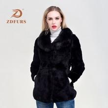 ZDFURS*Luxury Big Genuine Full pelt  REX Rabbit Fur Coat With Real Natural Fox Collar Customize Plus Size Overcoat