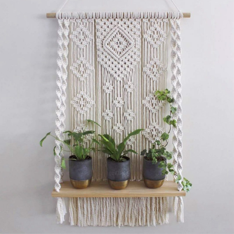 Plant Shelf  Wall Hanging Tapestry Macrame Wall Art Hand-made Dyed Tapestry Lace Fabric Bohemia Tassel Boho Home Decoration Gift