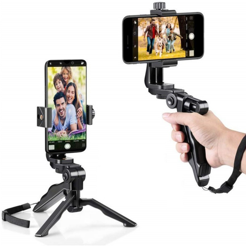 Handheld Grip Stabilizer Tripod Selfie Stick Handle Clip Holder For IOS Android Phone