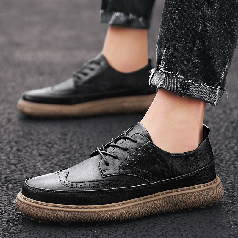 Lace Up Soft Casual Autumn Outdoor Driving Breathable Genuine Leather British Fashion Men Shoes Basic Business Comfy Shoes S5