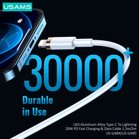 USAMS 20W USB C Cable for iPhone 13 12 8 XR PD Fast Charge for iPhone 13 12 Pro Max USB Type C Cable Fast Charging for Macbook Cable