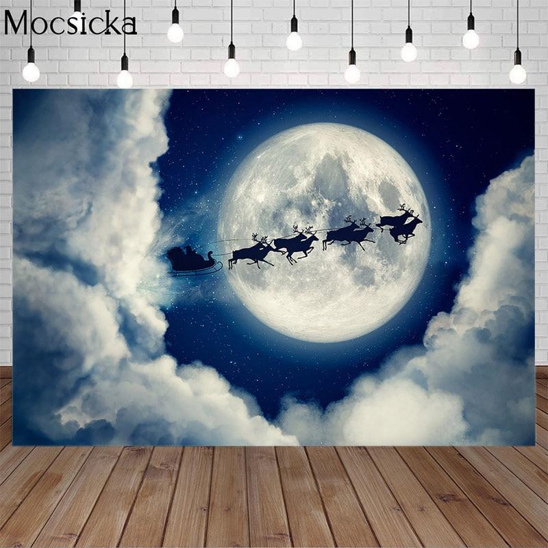 Mocsicka Рождественский фон для фотосъемки Ночная Большая Луна