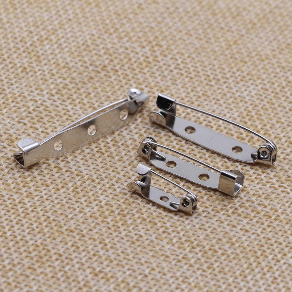 Putih K Besi Berlapis Bros Belakang Bar Pemegang Lencana Kunci Aman Bros Pin Perhiasan Temuan Perhiasan Aksesoris