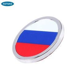 1 Pcs Auto Exterieur Accessoires Rusland Vlag Sticker Metalen Mini Ronde Embleem Voor Toyota Rover Dodge Skoda