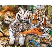 Diamond Painting DIY 5D Leopard Lion Tiger Cross Stitch Full Square Diamond Mosaic Animal Home Decor full square diamond 5d diy diamond painting tiger lion leopard 3d embroidery cross stitch rhinestone mosaic painting decor bk