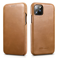 For iPhone 11 Pro Cowhide Genuine Leather Phone Case iPhone 11 2019 Flip Case Business Retro Smart Cover for iPhone 11 Pro Max