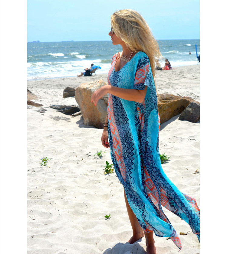 Hot Selling European And American-Style Chiffon Blue Powder Vertical Striped Printed Robe Beach Skirt Holiday Maxi Dress