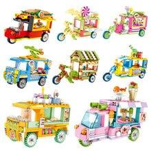 Mini Street View Building Block Giocattoli Per I Bambini di Ghiaccio Crema Burger Auto Triciclo FAI DA TE Creativo Piccoli Mattoni Giocattoli Educativi Regali