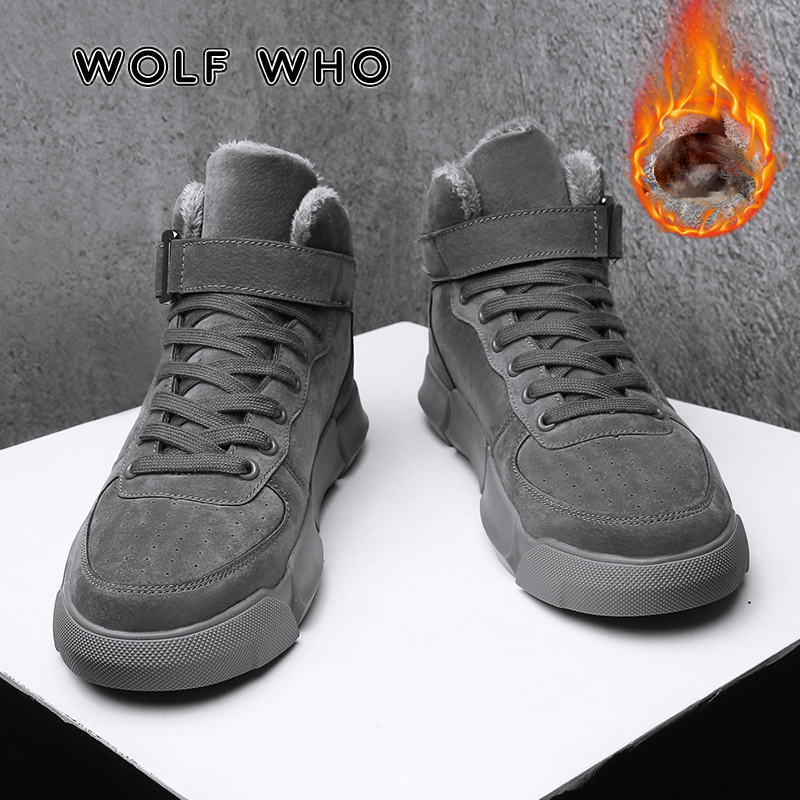 WOLF WHO 2019 Men Boots Men's Winter Warm Snow Boots Fur Plush High Top Ankle Boots Sneakers Work Shoes Men Botas Krasovki X-022