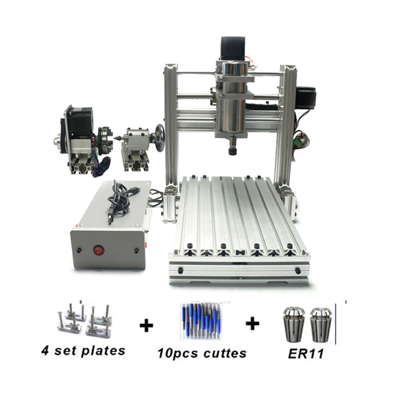DIY CNC 3020 3 Axis 4 Axis Mini Wood 2030 CNC Engraving Machine Milling Lathe Metal Router 400w USB  With ER11 Collet