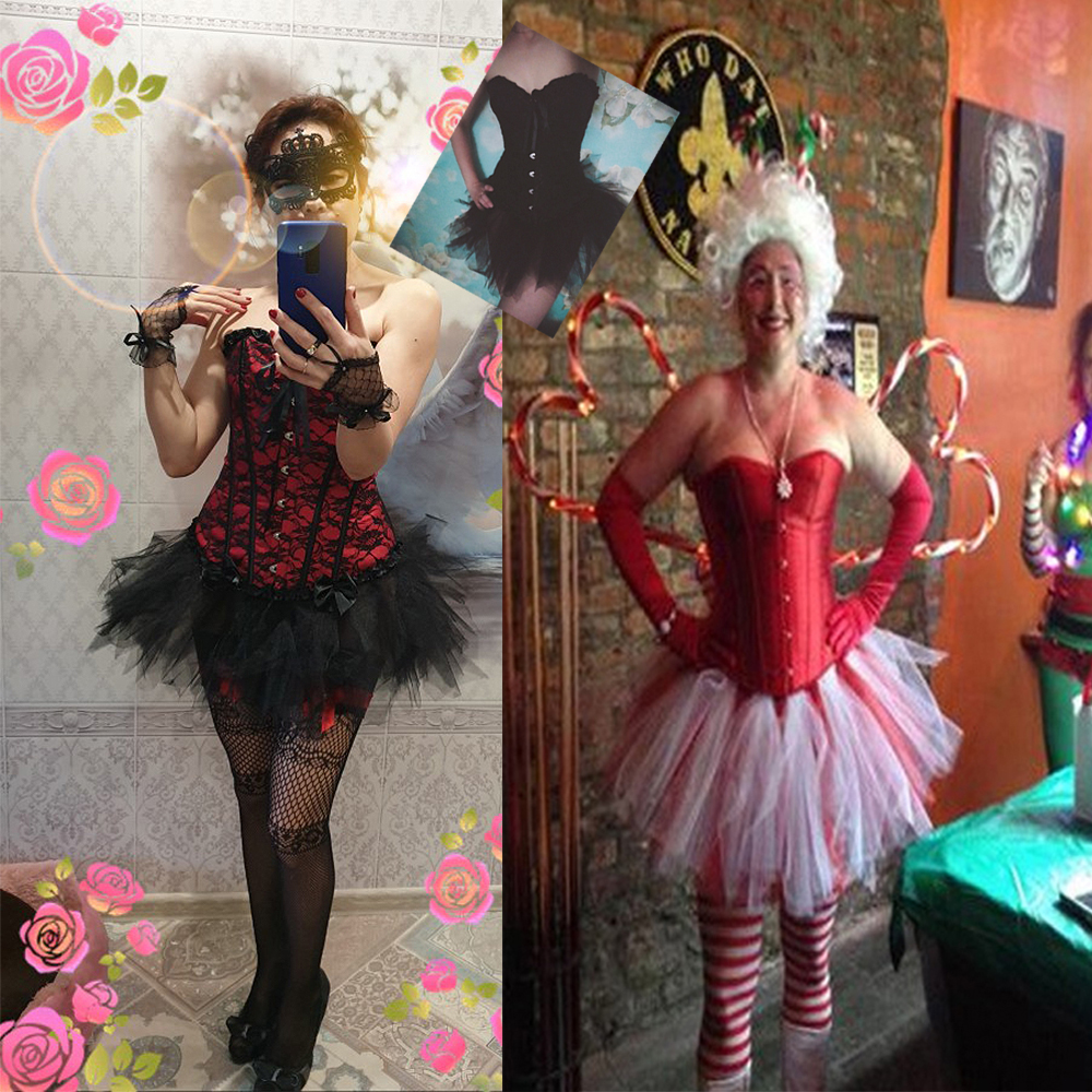 Women Sexy Burlesque Overbust Corset Bustier Top With Mini TuTu Skirt Fancy Dresses Costume Sexy Gothic Corsets Dress 1