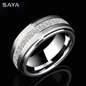 Кольцо для мужчин, кольцо из карбида вольфрама с фианитом, полированное обручальное кольцо для мужчин, Бесплатная доставка, по индивидуальн...