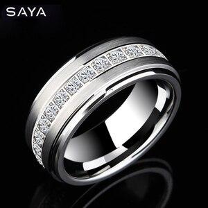 Мужское обручальное кольцо из карбида вольфрама с фианитом, Бесплатная доставка по индивидуальному заказу