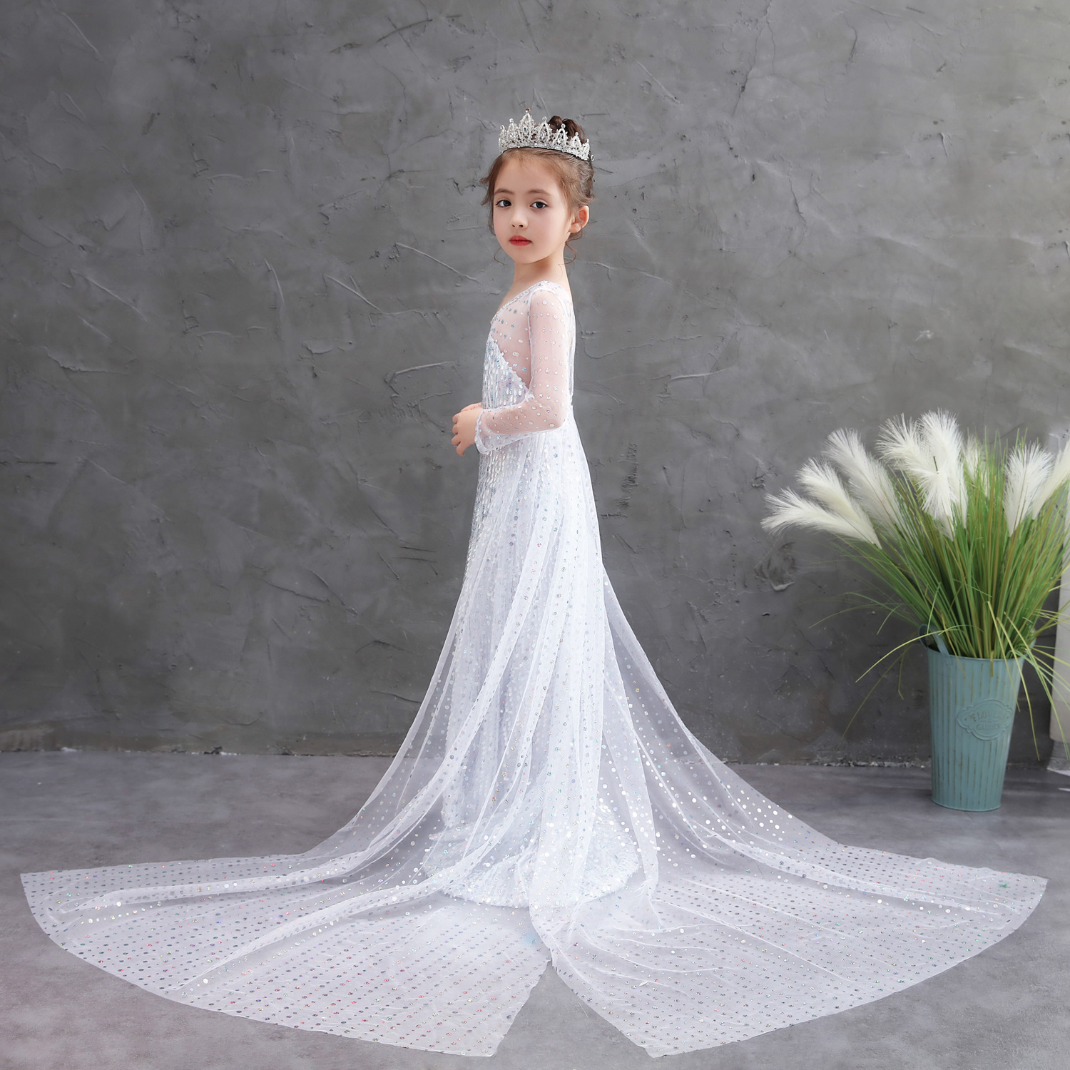 Frozen 2 Fancy Princess Elsa Dress Up Christmas Carnival Girls White Elsa Costume Kids Sequins Wedding Dresses Cosplay Clothes 8