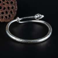 925 Sterling Silver Handmade Lotus Lotus Peng Bracelet Children's Simple and Fashionable Open Push pull Ring