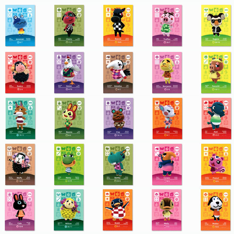 (076 To 100) Animal Crossing Card Amiibo Printed NFC Card Compatible Pick From The List